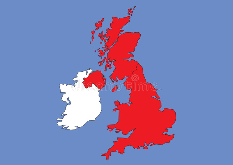 Map of Great Britain and Ireland royalty free illustration