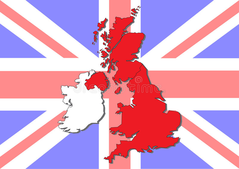 Map of Great Britain and Ireland vector illustration
