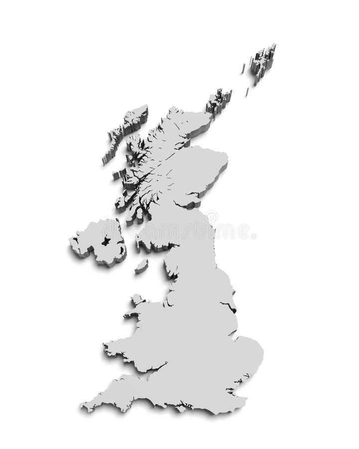 Map of Great Britain on white isolated