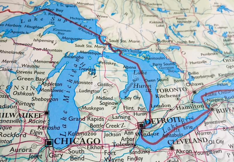 Map of the Great Lakes and Michigan Mitten. A map of the Great Lakes and Mitten state Michigan stock photo