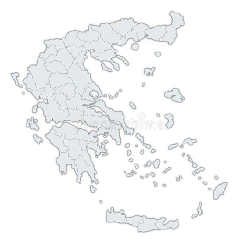 Map Of Greece. A stylized map of Greece showing the different provinces. All isolated on white background vector illustration