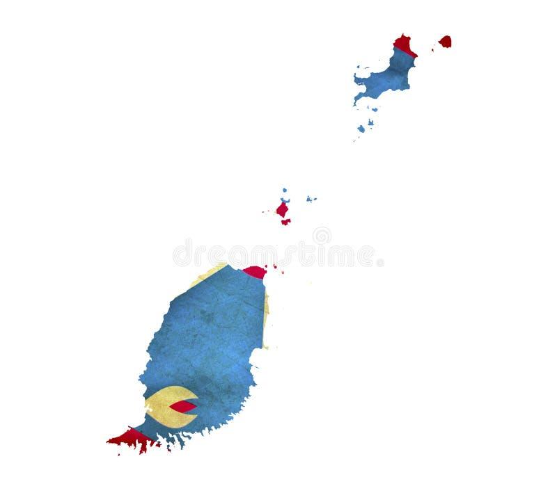 Map of Grenada isolated stock photo
