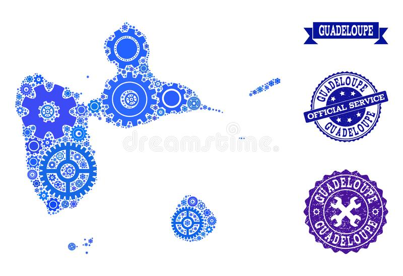 Mosaic Map of Guadeloupe with Gear Wheels and Grunge Seals for Service. Map of Guadeloupe created with blue wheel symbols, and isolated grunge watermarks for stock illustration