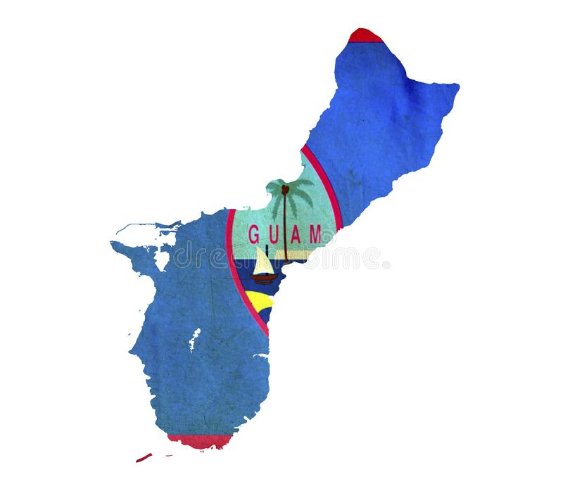 Map of Guam isolated stock photo