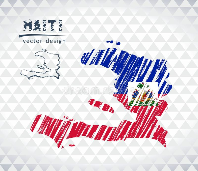 Map of Haiti with hand drawn sketch pen map inside. Vector illustration stock illustration