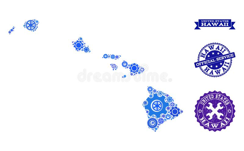 Mosaic Map of Hawaii State with Gears and Rubber Seals for Service. Map of Hawaii State formed with blue gear symbols, and isolated scratched seals for official vector illustration