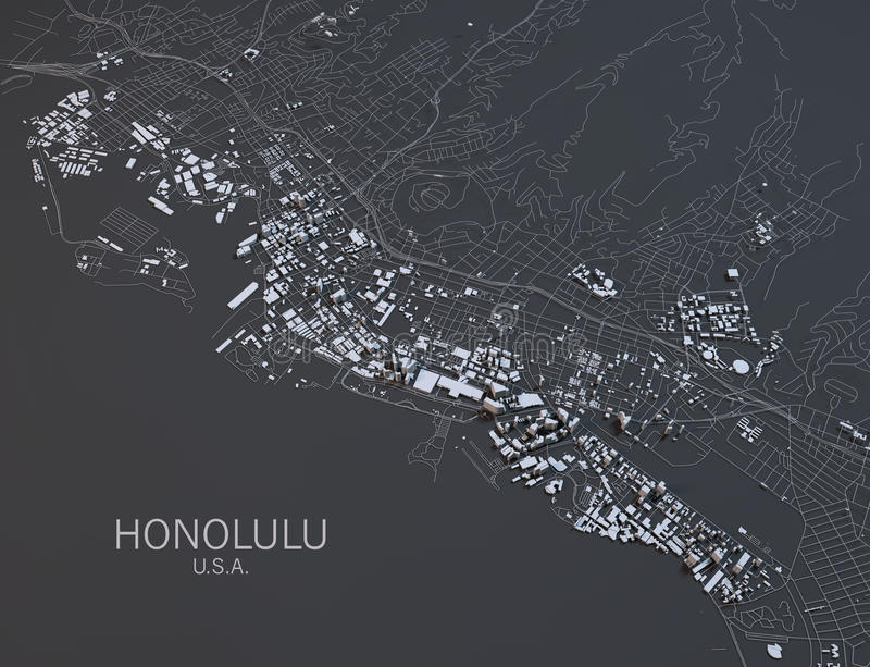 Map of Honolulu, satellite view stock image