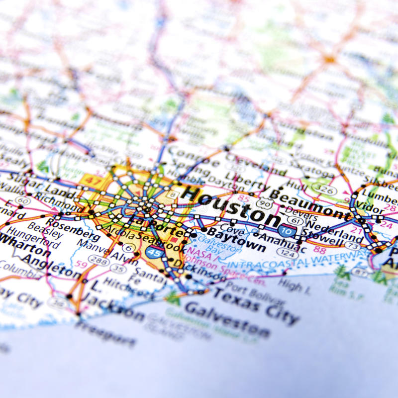 Map of Houston city stock photos