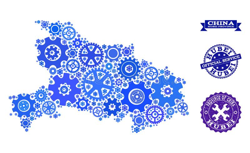 Mosaic Map of Hubei Province with Cogs and Grunge Stamps for Service. Map of Hubei Province composed with blue gear symbols, and isolated rubber stamps for stock illustration