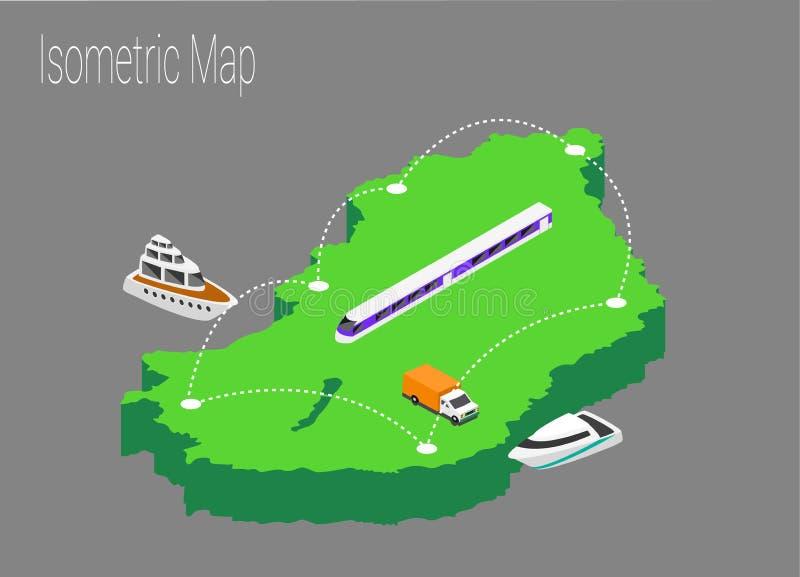 Map Hungary isometric concept. stock illustration