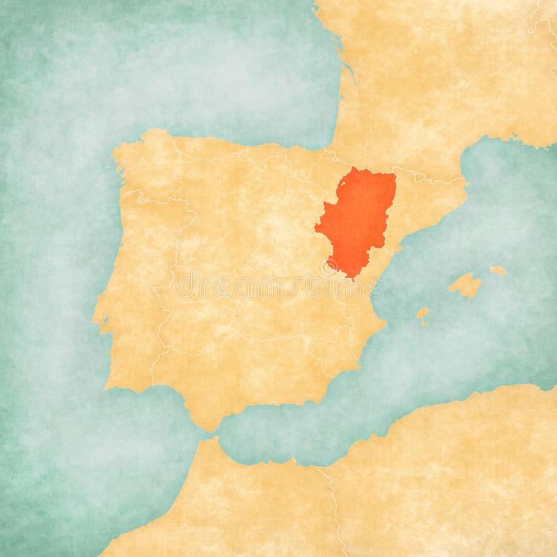 Map of Iberian Peninsula - Aragon. Aragon on the map of Iberian Peninsula in soft grunge and vintage style on old paper royalty free illustration
