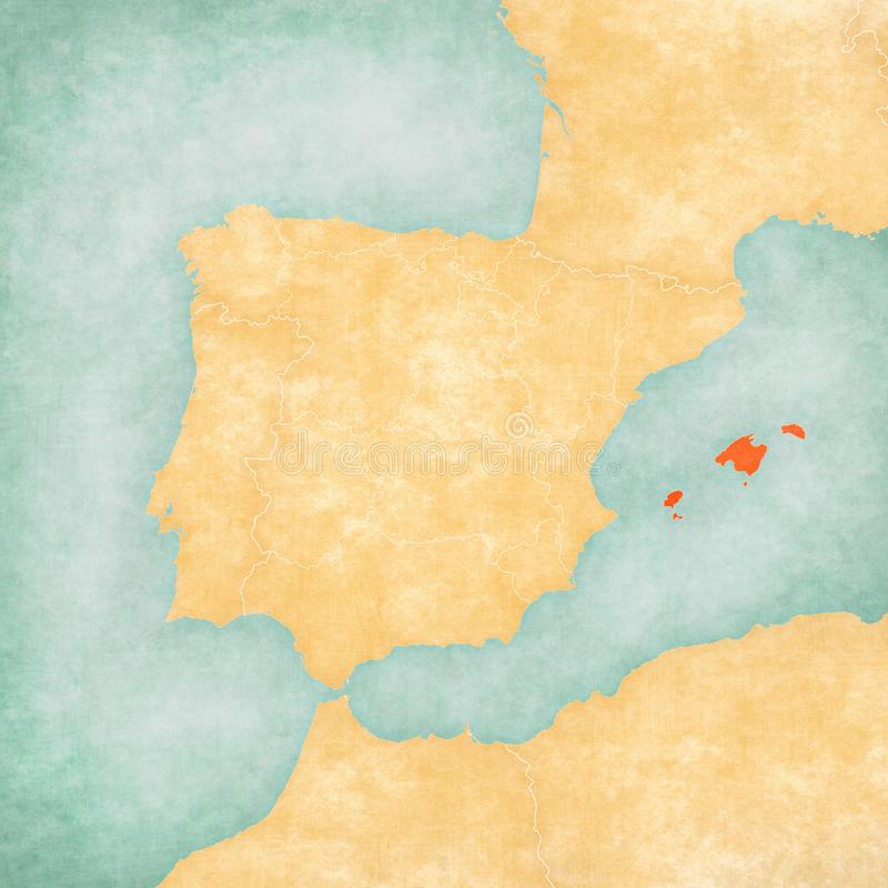 Map of Iberian Peninsula - Balearic Islands. Balearic Islands on the map of Iberian Peninsula in soft grunge and vintage style on old paper stock illustration