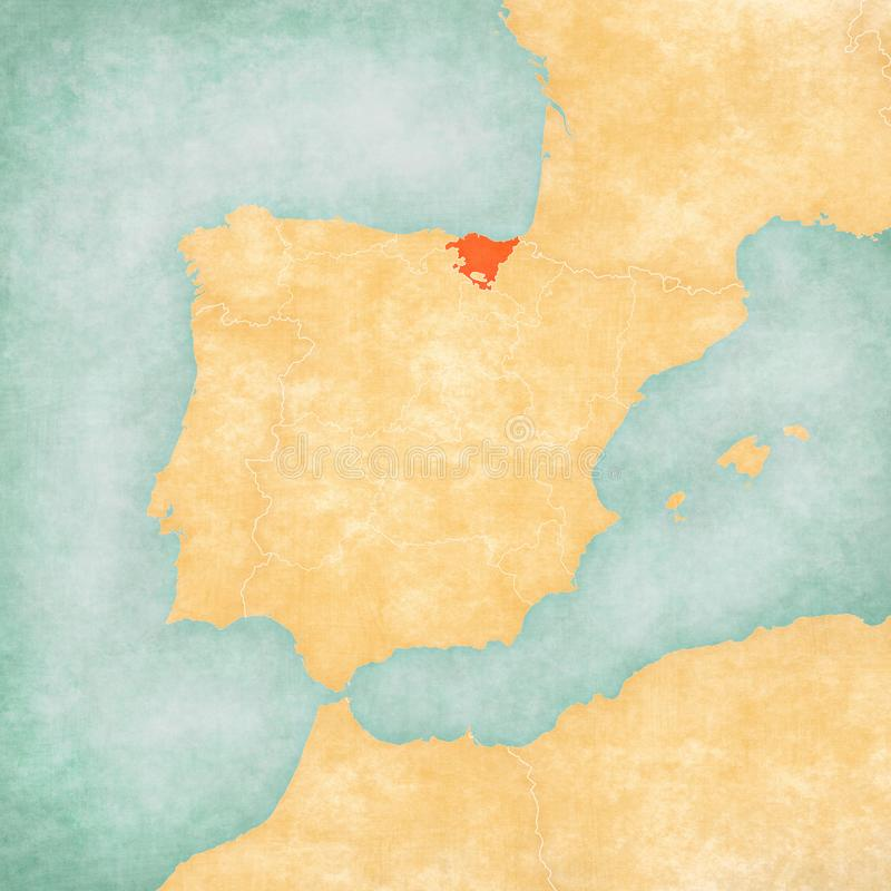 Map of Iberian Peninsula - Basque Country. Basque Country on the map of Iberian Peninsula in soft grunge and vintage style on old paper royalty free illustration