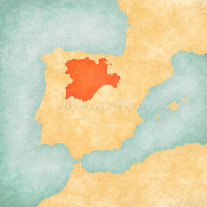 Map of Iberian Peninsula - Castile and Leon. Castile and Leon on the map of Iberian Peninsula in soft grunge and vintage style on old paper royalty free illustration
