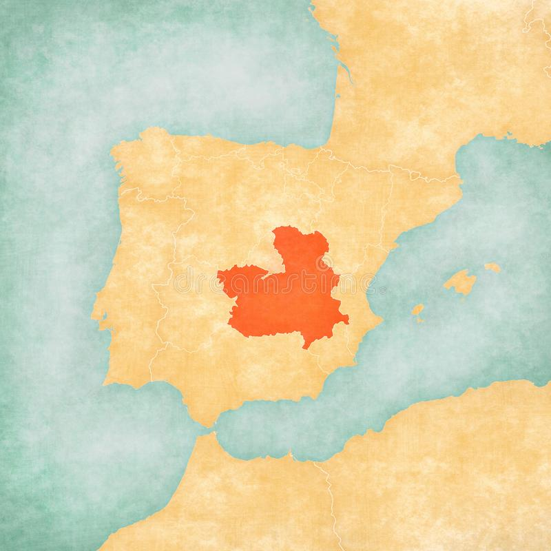 Map of Iberian Peninsula - Castilla-La Mancha. Castilla-La Mancha on the map of Iberian Peninsula in soft grunge and vintage style on old paper royalty free illustration