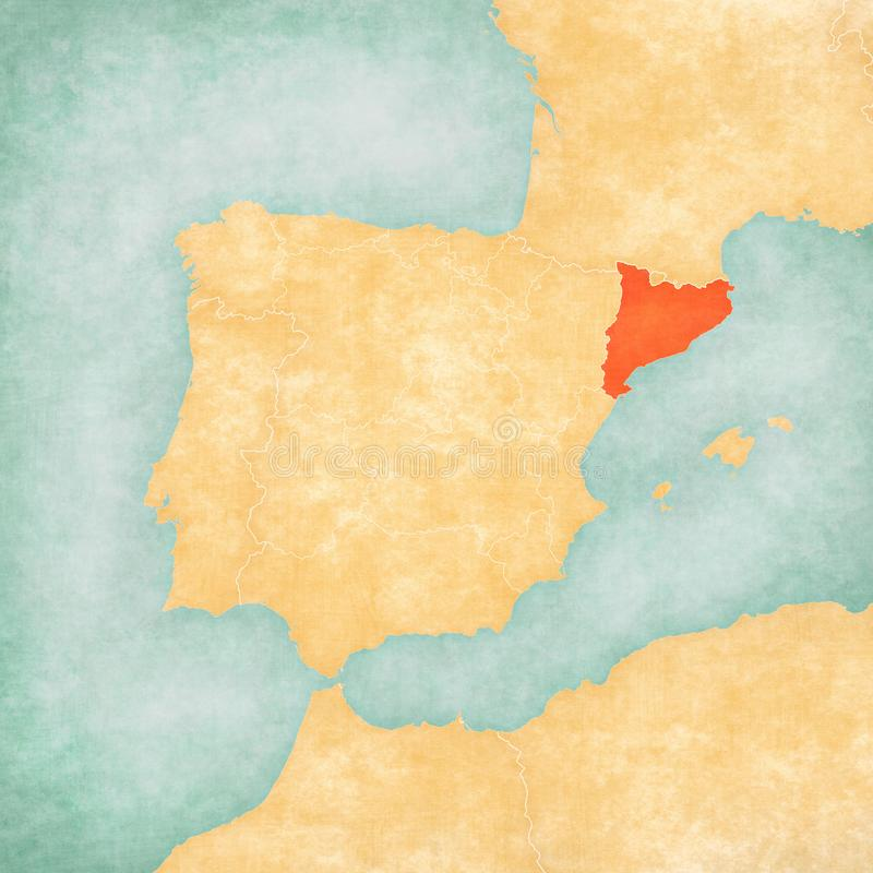 Map of Iberian Peninsula - Catalonia. Catalonia on the map of Iberian Peninsula in soft grunge and vintage style on old paper stock illustration
