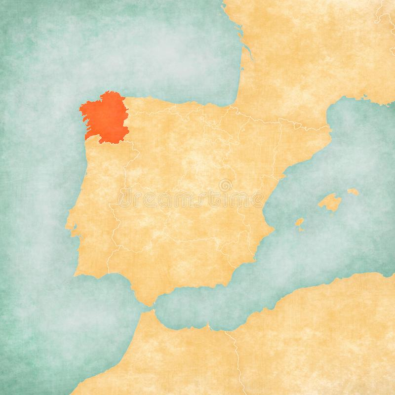 Map of Iberian Peninsula - Galicia. Galicia on the map of Iberian Peninsula in soft grunge and vintage style on old paper vector illustration