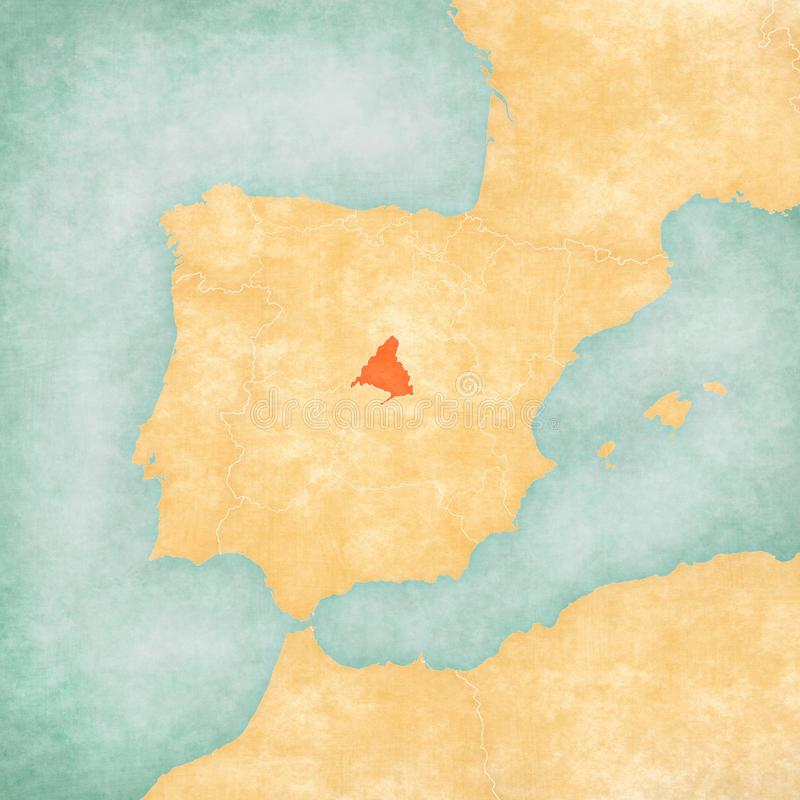 Map of Iberian Peninsula - Madrid. Madrid on the map of Iberian Peninsula in soft grunge and vintage style on old paper vector illustration