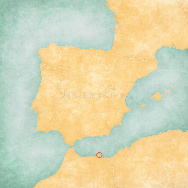 Map of Iberian Peninsula - Melilla. Melilla on the map of Iberian Peninsula in soft grunge and vintage style on old paper royalty free illustration