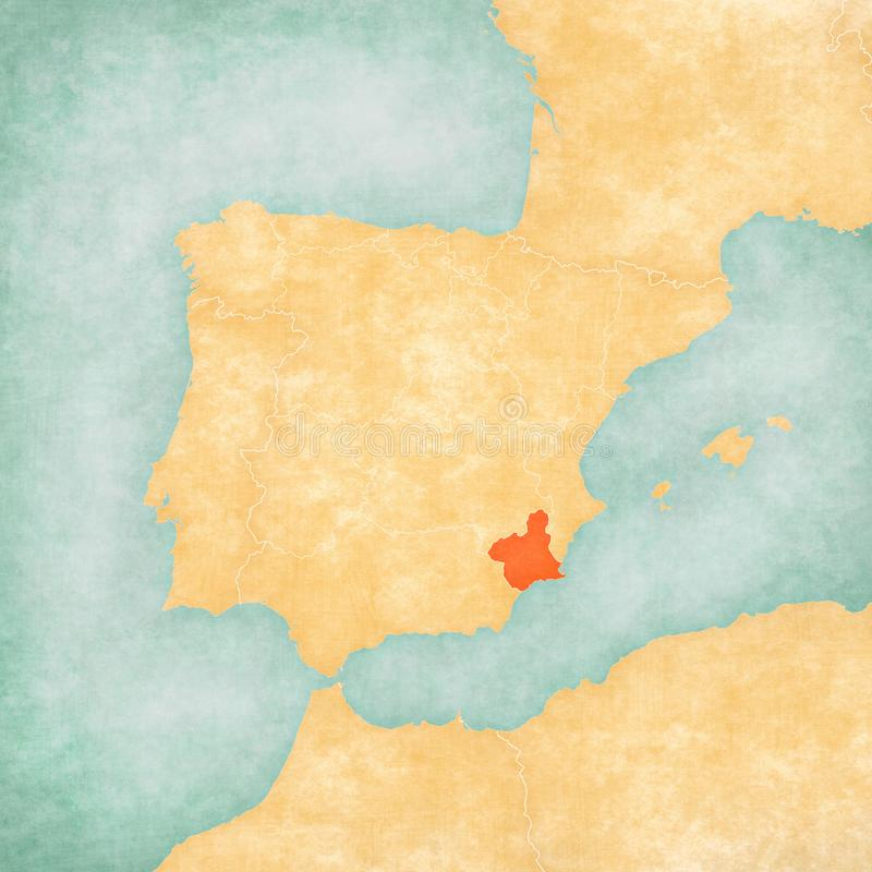 Map of Iberian Peninsula - Murcia. Murcia on the map of Iberian Peninsula in soft grunge and vintage style on old paper royalty free illustration