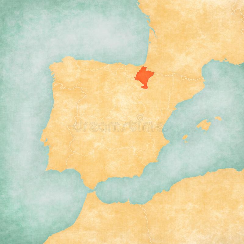 Map of Iberian Peninsula - Navarre. Navarre on the map of Iberian Peninsula in soft grunge and vintage style on old paper royalty free illustration