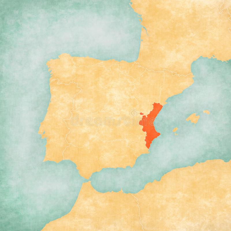 Map of Iberian Peninsula - Valencian Community. Valencian Community on the map of Iberian Peninsula in soft grunge and vintage style on old paper vector illustration