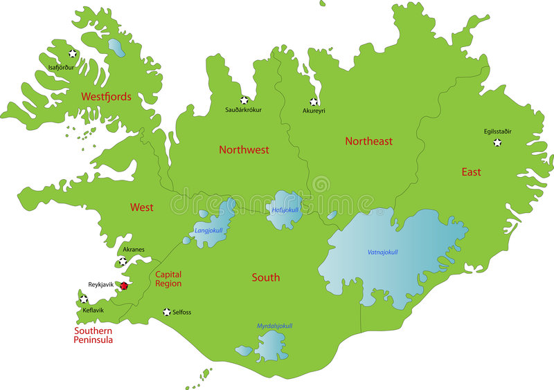 Map of Iceland vector illustration