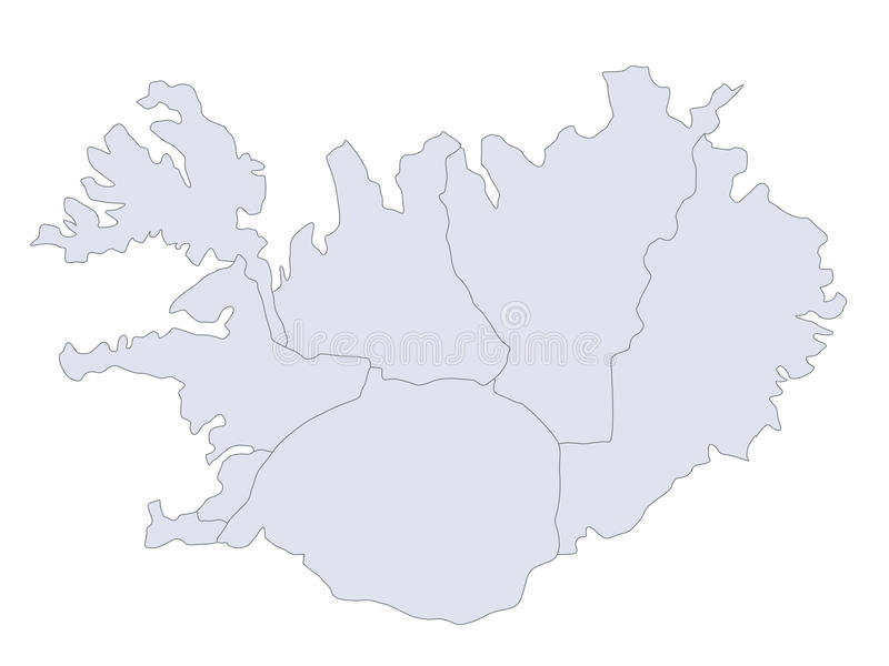 Map Iceland. A stylizedmap of Iceland showing the different provinces stock illustration