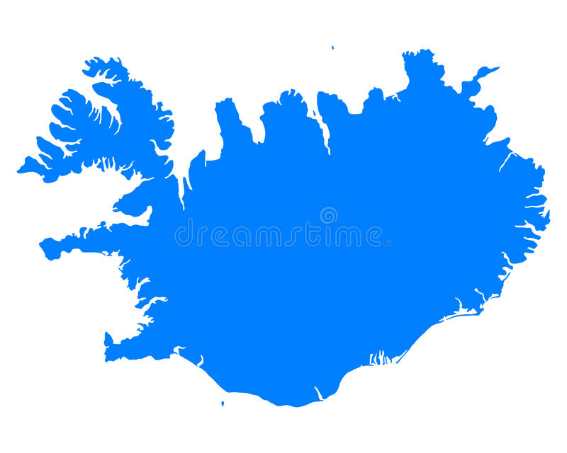 Map of Iceland. Detailed and accurate illustration of map of Iceland stock illustration