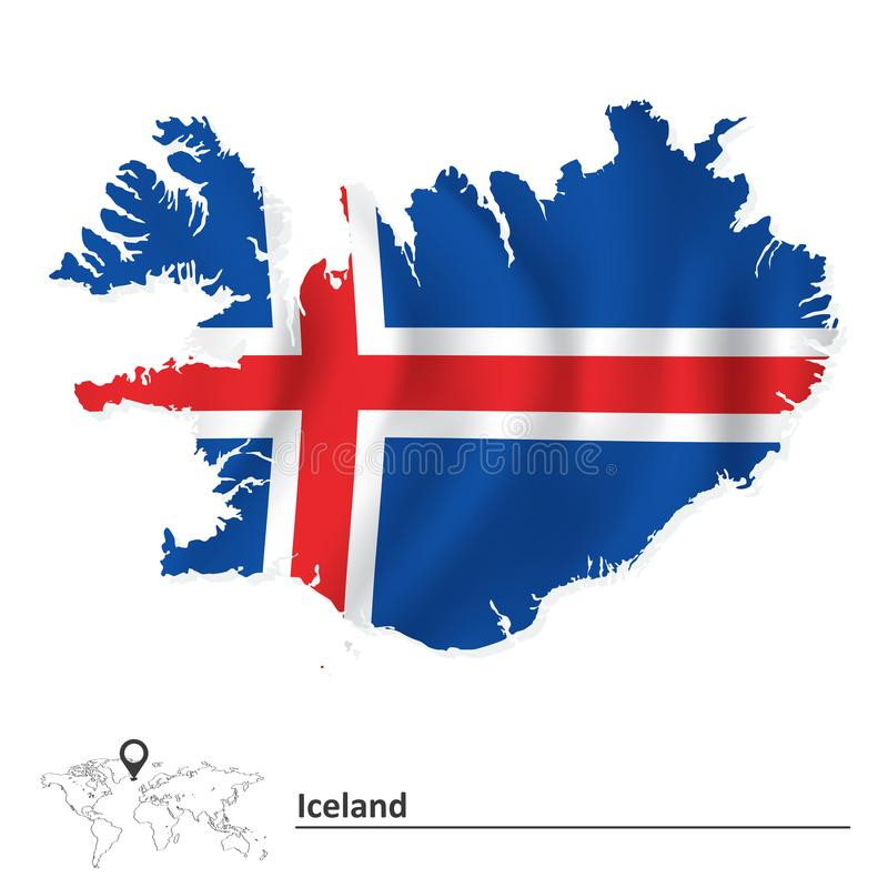 Map of Iceland with flag vector illustration