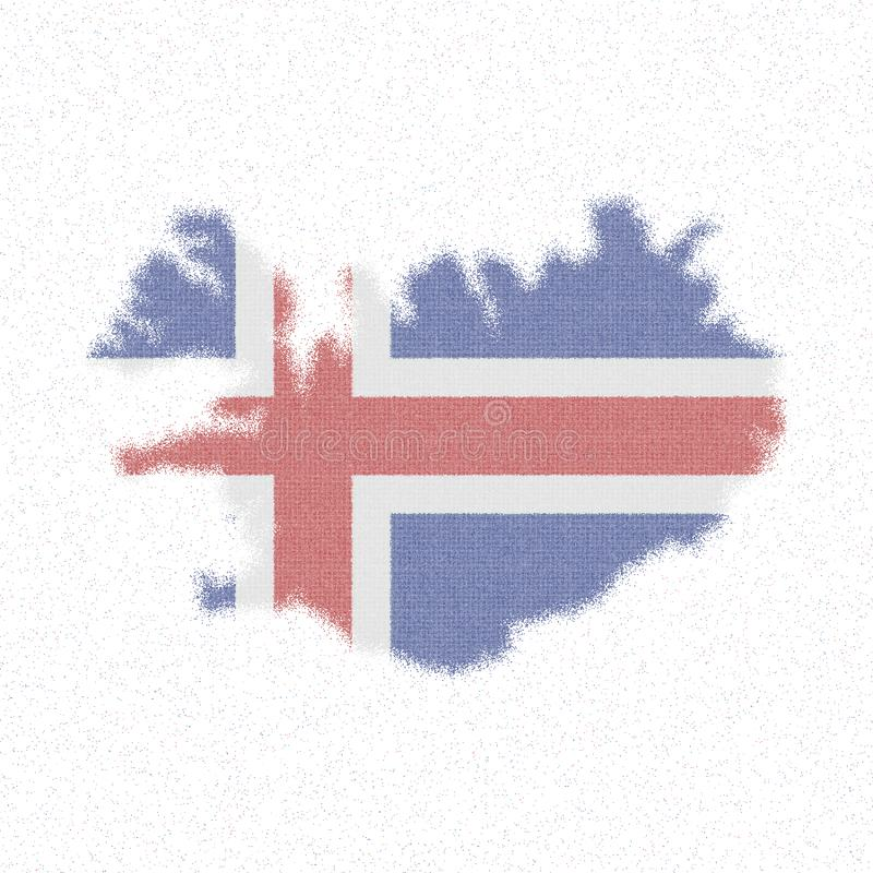 Map of Iceland. Mosaic style map with flag of Iceland. Magnificent vector illustration vector illustration