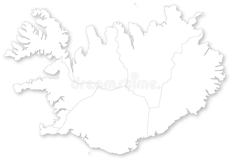 Map of Iceland with regions. Map of Iceland with regions with shadow. Projected in WGS 84 World Mercator (EPSG:3395) coordinate system royalty free illustration
