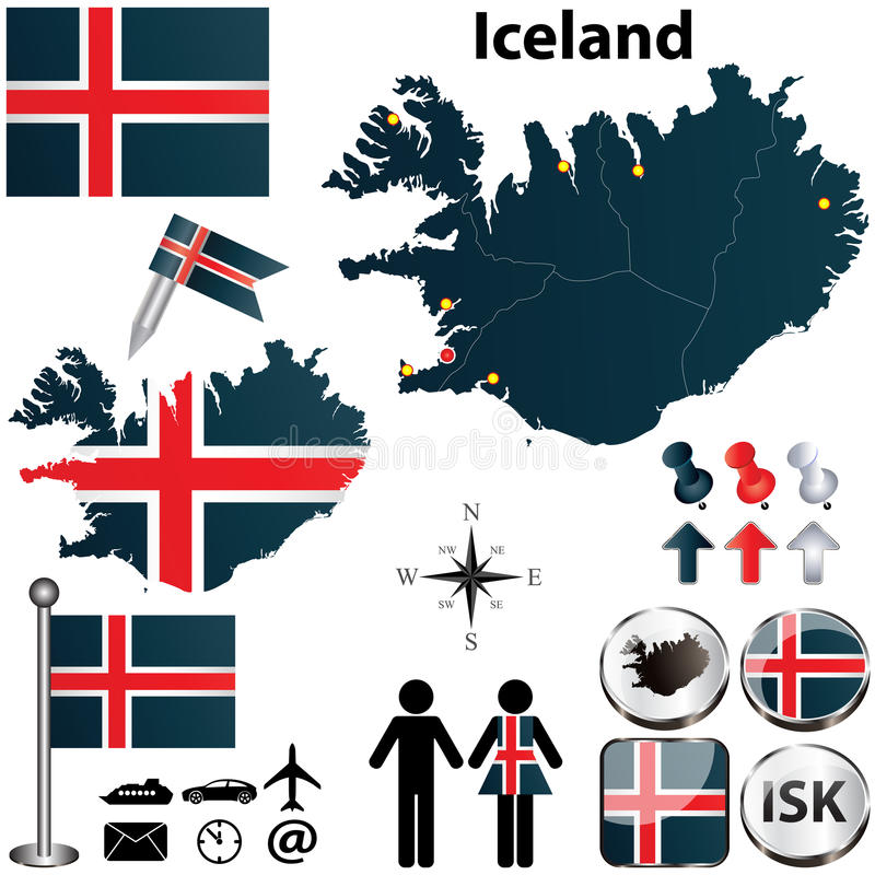 Map of Iceland stock vector. Illustration of sign, boundary - 31020702
