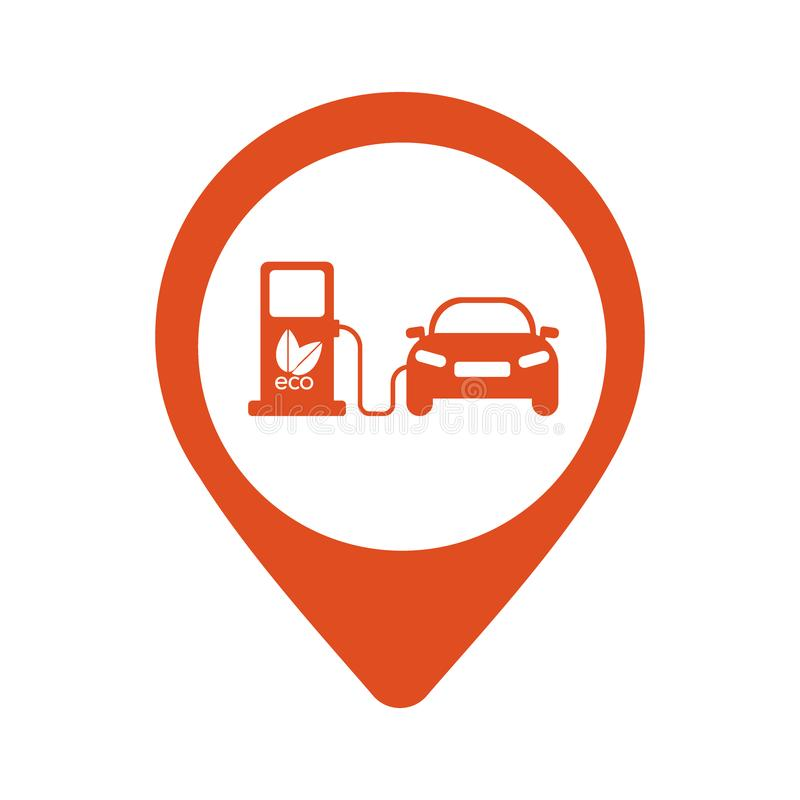 Map icon with electric car - vector illustration royalty free illustration