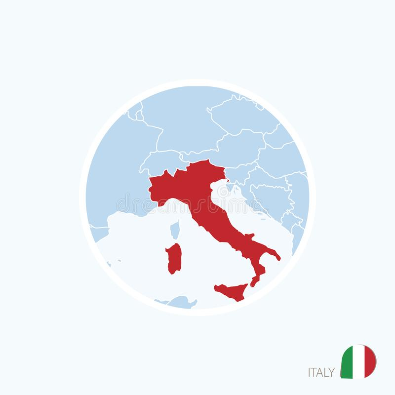 Map icon of Italy. Blue map of Europe with highlighted Italy in red color royalty free illustration