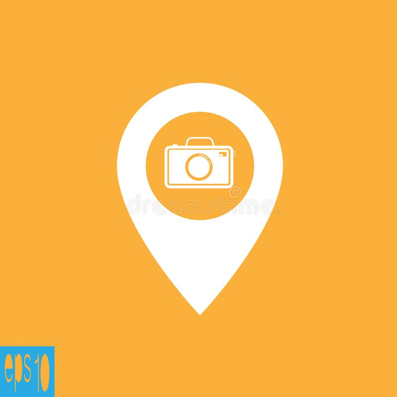 Map icon with photo camera - vector illustration. Eps ten vector illustration