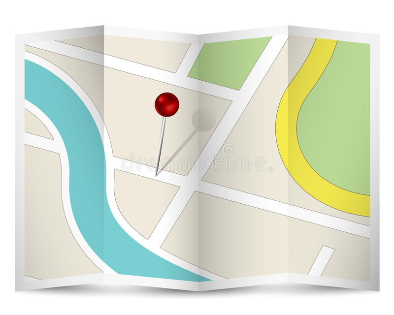 Map Icon with Red Pin royalty free illustration