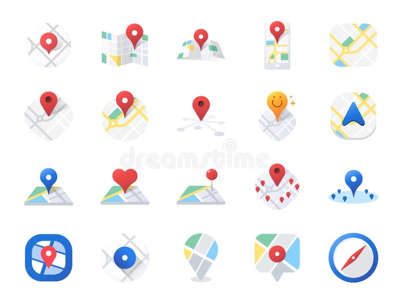 Map icon set. Included the icons as location, area, navigation, navigator, direction and more. stock illustration