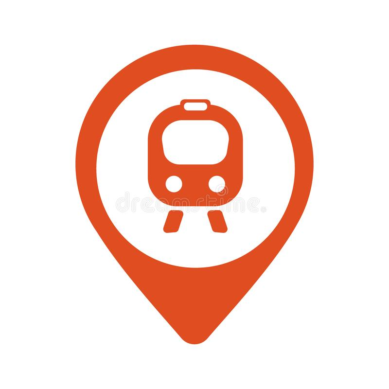 Map icon with train, trolley - vector illustration royalty free illustration