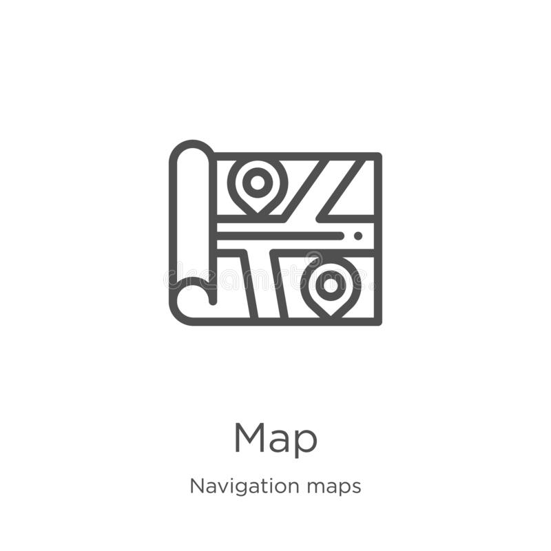 map icon vector from navigation maps collection. Thin line map outline icon vector illustration. Outline, thin line map icon for royalty free illustration