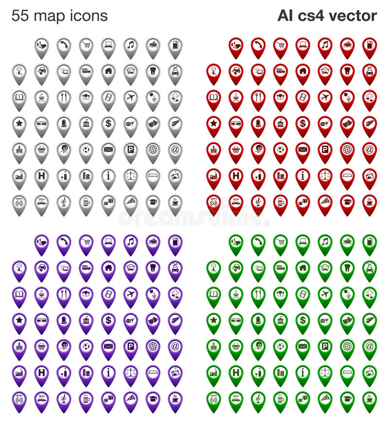 Free Map Icons Set - 4 Colors Stock Photo - 33006050