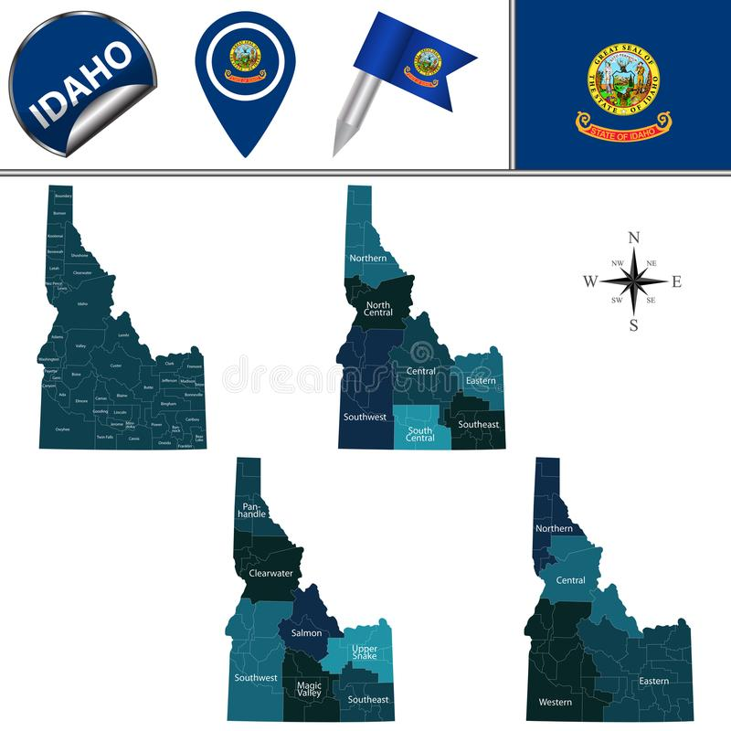 Map of Idaho with Regions. Vector map of Idaho with named regions and travel icons vector illustration