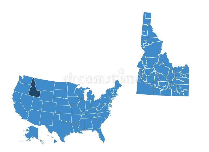 Map of Idaho state vector illustration