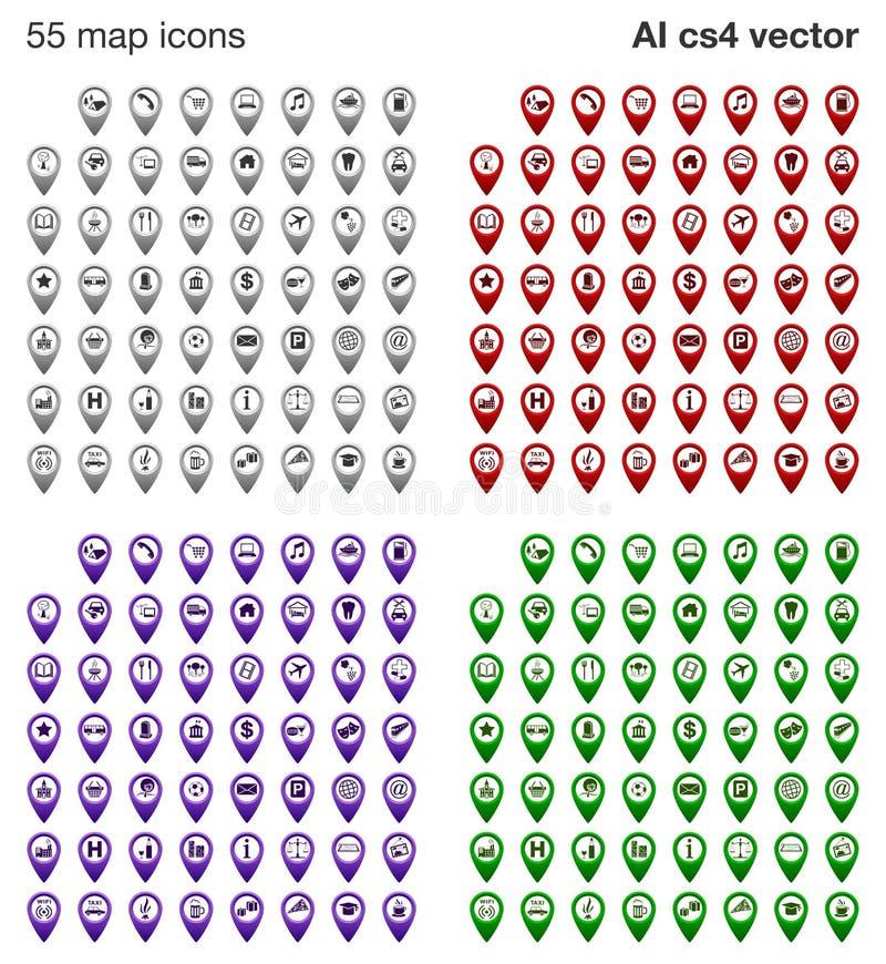 Map ikony ustawiać - 4 koloru ilustracja wektor