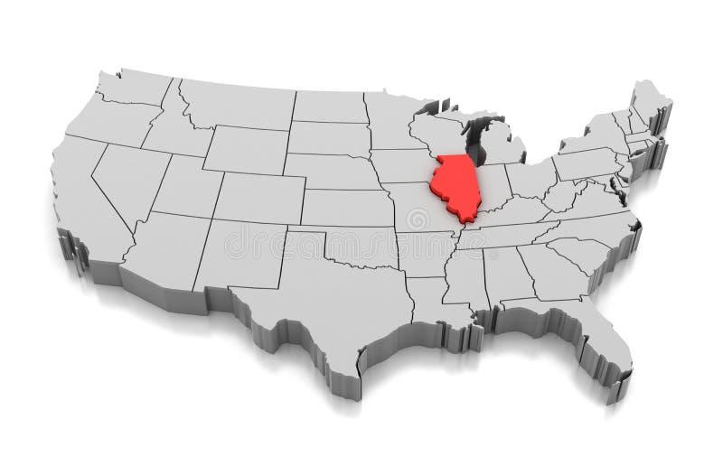 Map of Illinois state, USA stock illustration