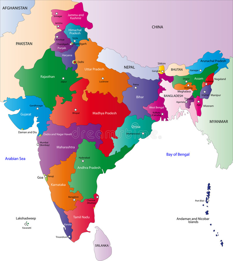 Map of India. India map designed in illustration with the regions colored in bright colors and with the main cities. On an illustration neighbouring countries