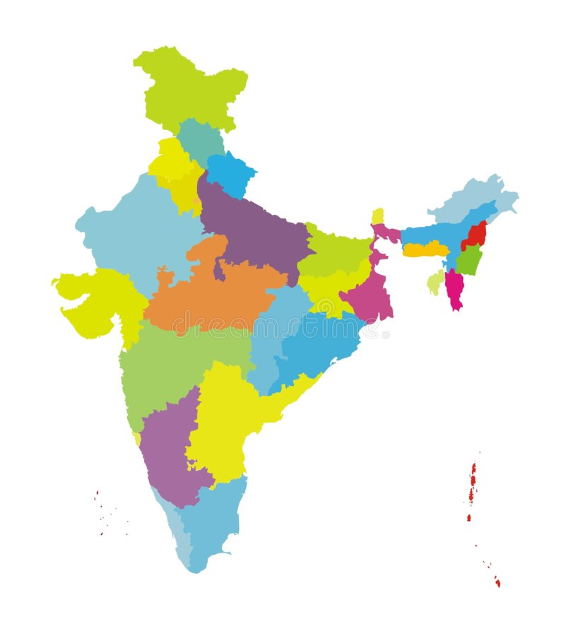 Map of India [col] Authentic. The Indian Map [Not to scale] with states in different col. It is more authentic designed by an Artist from India royalty free illustration