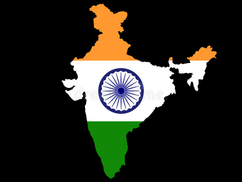 Map of India and Indian flag stock illustration