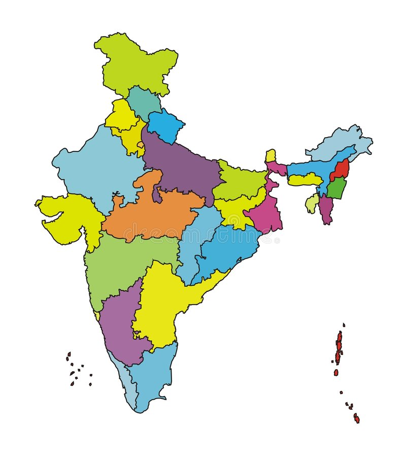 Map of India-More authentic. The Indian Map [Not to scale] depicting States and Union Territories in different colours with black outline. It is more authentic vector illustration