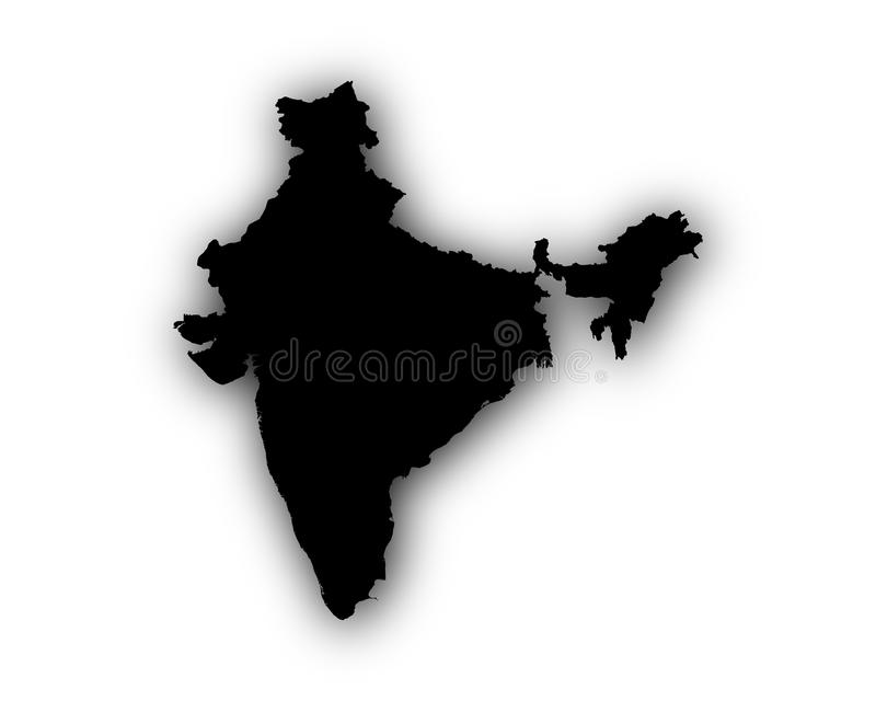 Map of India with shadow stock illustration